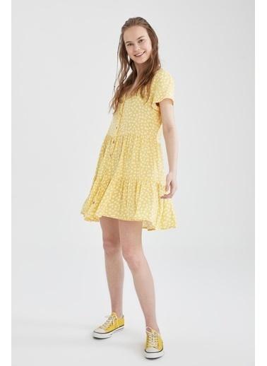 DeFacto Volan Detaylı V Yaka Çiçekli Elbise Sarı